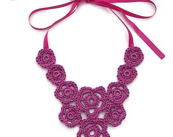 Statement necklace / Purple necklace / Crochet necklace / Flower necklace / Bib necklace / Pink necklace / Purple flowers necklace / Crochet