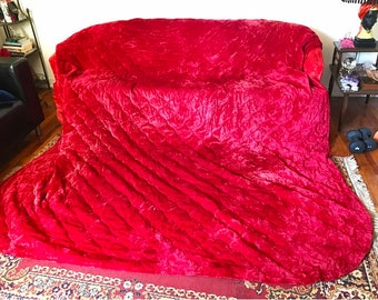 "1970s Quilted Blood Red Velvet Bedspread Full Size 107"" by 94"""