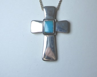 heavy cross pendant, turquoise silver pendant, sterling silver cross, solid silver and stone cross, two sided silver cross, silver cross