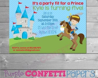 Prince Birthday Invitation, Printable Prince Invitation, Prince Invite, Printable Prince Invite, Brown Hair Prince Invitation, Horse, Castle
