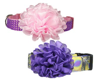 "Pink Purple Dog Collar Flower Accessory for 1"" / 1-1/2"" / 2"" Dog Collar"