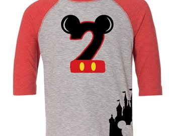Custom Disney Inspired Mickey Mouse Birthday Number Shirt with Name on Back