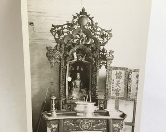 black and white photo of shrine architectural detail
