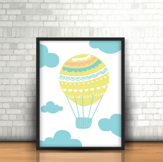 Adorable Pastel Baby Hot Air Balloon Playroom Nursery Kawaii Soft and Cute Background Print - Digital Instant Download