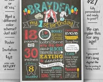 1st birthday Chalkboard - Carnival first birthday poster - Circus invitation (sold separately) - we edit u print birthday chalkboard sign