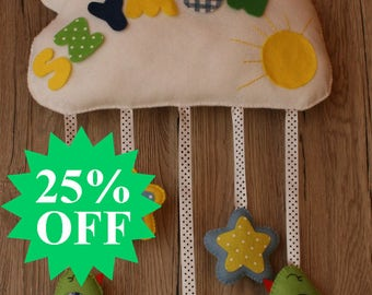 25% OFF !! SALE !!! Personalized decoration for a child's room. Child's name. The cloud of felt.