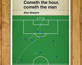 Football Print - Classic Book Cover Poster - Alan Shearer volley for Newcastle v Everton in 2002 (Various Sizes)