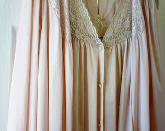 Vintage Vanity Fair Peignoir Set Lingerie Pink Pajamas Matching Robe 3 Piece Set Excellent Condition Size Large Made USA