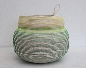 "STATEMENT ""Goldfish"" Bowl in Ombre Greens // Handmade Rope Bowl // Cotton Rope Planter"