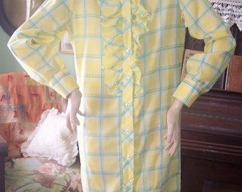 Fritzi of California vintage shift dress plaid button front long sleeve yellow Med 60's 70's