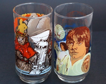1977 Vtg Star Wars Burger King Glasses Luke Skywalker C3PO R2D2 Chewbacca New Condition