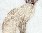 Chocolate Point Siamese Embroidered Towel   Flour Sack Towel   Linen Towel   Dish Towel   Kitchen Towel   Hand Towel   Siamese Cat