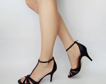 Black heel sandals, Black shoes, Leather sandals, Black t strap sandals, Heel sandals, Dress sandal, Summer sandals, Wedding sandals