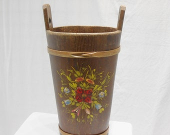 Vintage Handmade Folk Art Tole Hand Painted Solid Wood Oval Basket Container Carrying Handles Umbrella Holder
