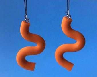 Orange Squiggle Earrings