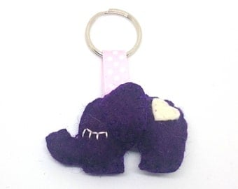 Purple  elephant key-chain - eco-friendly accessories - felt key holder - animals - green - mini ornaments