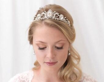 Rhinestone Wedding Crown, Vintage Bridal Tiara, Silver Wedding Tiara, Rhinestone Tiara, Rhinestone Headpiece, Vintage Wedding Crown ~TI-3247