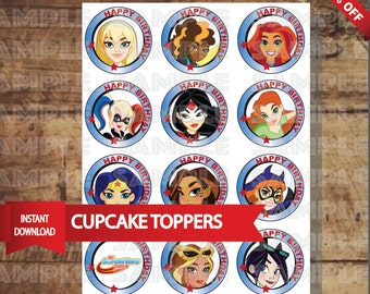 DC SUPERHERO GIRLS  cupcake toppers Birthday party Decor