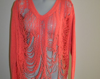 Revamped Coral Shredded Sweater S