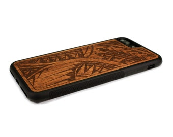 iPhone 7 Plus Case Wood Tribal Design, Wood iPhone 7 Plus Case, iPhone 7 Plus Wood Case