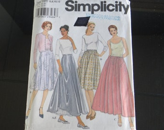 Simplicity #8943 Skirt Pattern- Uncut Unused Skirt Size 6-12 Sewing Pattern in 3 Styles - Short and Long Skirt Pattern NOS