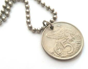 1968 New Zealand Coin Necklace  - Stainless Steel Ball Chain or Key-chain