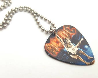 AC/DC Guitar Pick Necklace with Stainless Steel Ball Chain - concert accessories