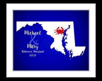 Personalized state wedding gift, wedding location print, custom, personalized wedding print, state wedding print, baltimore maryland print