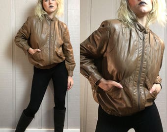 VNTG real leather caramel brown union made bomber jacket
