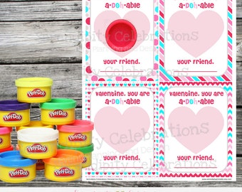 Instant Download, Printable Valentine Card, Play Doh Valentine Favors, Valentine Non Candy Treats, Valentine Favors, Valentines Day Treats