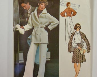 Vintage 1970s VOGUE COUTURIER Design Irene GALITZINE Sewing Pattern Jacket Blouse Skirt Pants Suit  #2987 Size 10