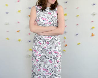 White, Grey & Pink Dinosaur + Rose Print Dress / Tea Rex Dress