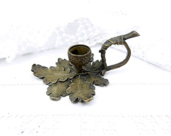 Antique French Bronze Oak Leaf and Acorn Candle Holder, Woodland, French Country Decor, Victorian Lighting, Bedroom, Boudoir, Candle Stick