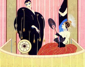 SPECATCULAR Flappers In Balcony! ERTE! Vintage Deco Flapper Illustration. Digital Deco Flapper DOWNLOAD. Vintage Digital Deco Flapper Print.