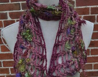 Silky Mohair Art Yarn Scarf // Ooak Homespun Crochet Scarf