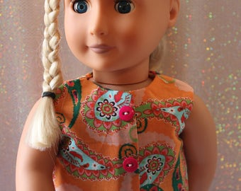 """18"""" doll clothes  handmade to Fit like American Girl,Ready for Spring/Summer! Blouse, print Shorts, Pink Shoes and White Socks,Free Shipping"""