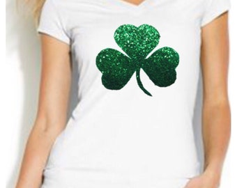 St Patricks Day Green Glitter Shamrock Short Sleeve White T-Shirt S M L XL  Plus Size 1x 2x 3x 4x 5x