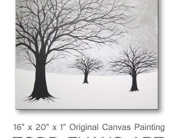 Abstract Art Wall Decor Tree Paintings of Trees Gray Winter Wall Art Tree Canvas Art Wall Hangings Gray Art 16x20 ORIGINAL PAINTING