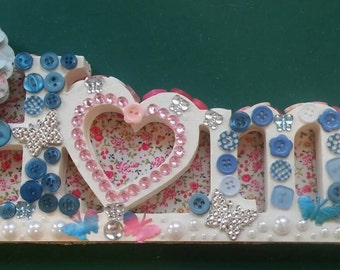 Home word sign home decor/mdf/backed with flower paper/buttons and sparkle-hand decorated home in blues and pink shabby chic look