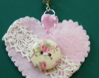 pink felt heart bag charm- pink heart keychain with a pearl beaded chain and lovely clasp- handmade felt and beads bag charm