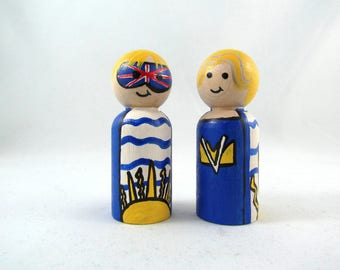 British Columbia Super Hero Wooden Peg Doll - Victoria, BC Super Hero Wooden Peg Doll - Canadian Superheroes FREE SHIPPING
