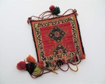 70s Carpet Bag Kilim BOHO Purse with Fringe
