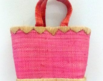 pink wicker basket - mini basket - child shopper- small storage - summer beach home- save money shop less:)