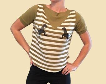Dinosaur Shirt/ Dinosaur Boobs/ Dino/ T Rex Shirt/ Striped Vintage Top/ Olive Green Striped Top/ Dinosaur Striped Shirt/ Boob Shirt