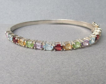 Vintage Multi Gemstone Sterling Silver Hinged Bangle, Large 7 1/2""