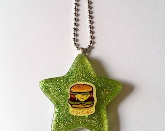 Cheeseburger Glitter Star Necklace - Kawaii Necklace Rainbow Necklace Kawaii Jewelry Pop Kei Jewelry Oshare Kei Fairy Kei Jewelry Decora