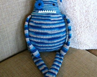Hand Knit Monster Stuffed Animal Toy/ Boy Monster Toy