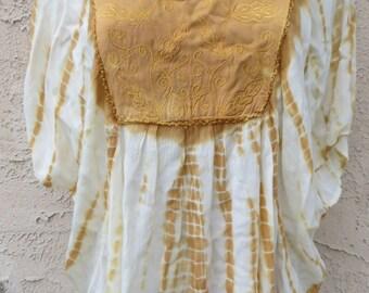 Vintage ethnic yellow/white tie dye embroidery rayon top blouse tunic boho hippie festival