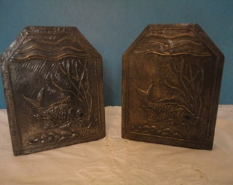 Vintage Arts & Crafts Movement Hand Hammered Pewter Book Ends - Fish with Green Glass Eyes - All Original - 1880-1910 - Rare