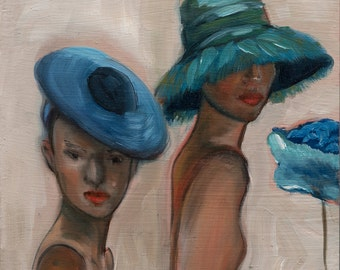 Small Original 15cm x15cm Oil Painting on Board 2 Mannequins With Blue & Teal Hats in A Milliner's Shop Window
